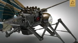 Steampunk Ornithopter close-up n.2 by Kurczak