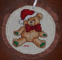 Xmas Teddy Bear Ornament by Joce-in-Stitches