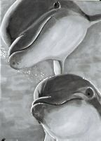Dophins - ACEO by Sofera