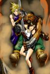 Barret, Cloud, and Tiffa swinging from the sector  by Naeles