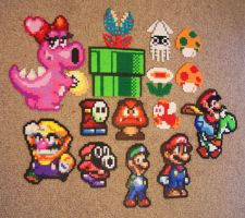 Mario Bead Sprite Grouping by SerenaAzureth
