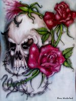 skull roses by AmyPond11