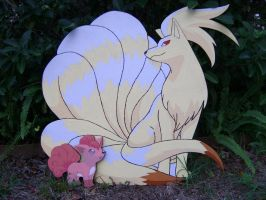 Ninetails and Vulpix (painting) by Minatek616