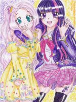 ~ Fluttershy and Twilight Sparkle gijinka ~ by FlyingCatsandGlitter