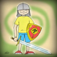 A boy with a sword by Nedelja