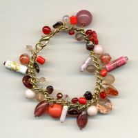 Pink and Red Beady Bracelet by Wabbit-t3h
