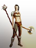 Barbarian battlemage girl by postcardsandroses