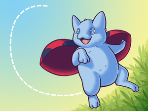 Catbug over grass by Fluna
