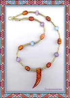TIBETAN AGATE HORN NECKLACE by Voodoomamma