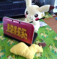 Pikachu and 3DS XL by kiraradaisuki