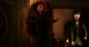 Merida Defends Hiccup by 1JoyDreamer