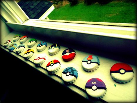 Bottle Cap Poke Balls by reita-angel
