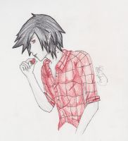 Marshall Lee and His Strawberry by IggyBunny