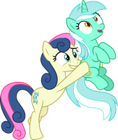 Bon Bon carrying Lyra Heartstrings by CloudyGlow
