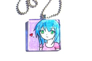 Hand Drawn Anime Girl Pendant by PinkChocolate14