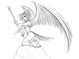Dragon Bird Girl Sketch by RoninDude