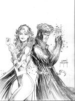 Rogue and Gambit con sketch by JMan-3H