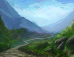 Path to the Mountains by Dreamin-Lea