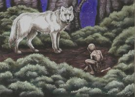 Smeagol And The White Wolf 001 by SkekLa