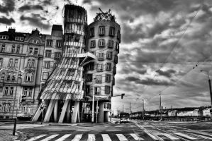 Prague, Dancing House BW by alierturk