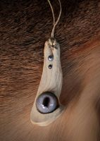 Elk Bone and Fawn Eye Pendant W/ Pearls by NaturePunk