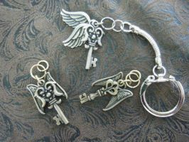 Harry Potter Flying Key Keychain Charm Pendant by ScraggyCrafts