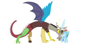 Discord Snuggling Rainbow Dash by Draeberkanin