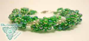 Green Ebead Spiral Weave Bracelet by TheSortedBead
