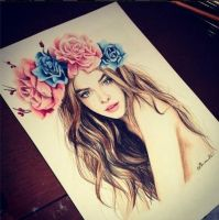 Girl with Flowers ## by Neindaiaa