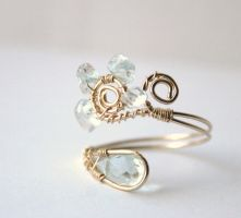 Aquamarine 14K Gold.f Ring by WrappedbyDesign
