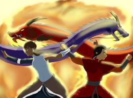 Korra Azula dragon dance by brightsunthewolf