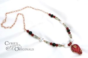 Red Sponge Coral necklace by cybelemoon
