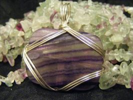 free form pendant rectangle flourite by BacktoEarthCreations