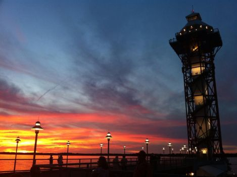 Sunset at Bicentennial Tower in Erie,Pa by BryceMigliore
