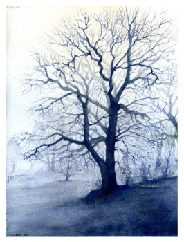 Tree in the fog by ArtCeltGallery