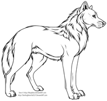 Cartoon wolf or dog line art by NinjaKato