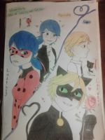 miraculous ladybug and cat noir  in color by Redfangwolf21