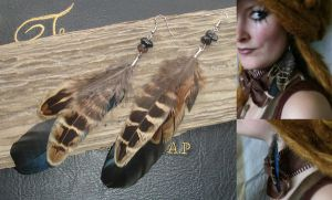 Apache Spirit Feather Earrings by IdaLarsenArt