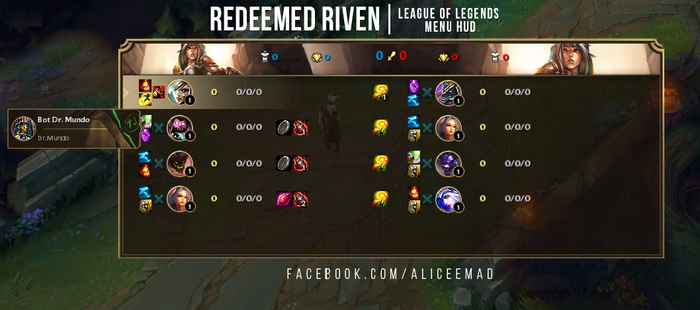 League of Legends Menu HUD - Redeemed Riven by AliceeMad