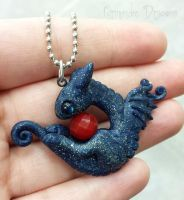 Cute glitter dragon necklace with red gem by carmendee