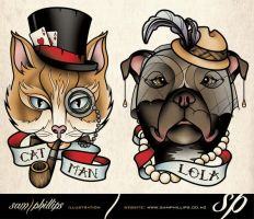 Cat and dog pet tattoo by Sam-Phillips-NZ