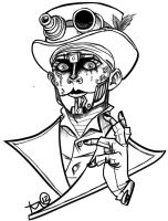 Steam Powered Giraffe: Rabbit Lineart by terahann