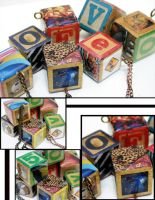 Letter Block Pendants by katmedina
