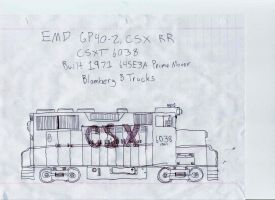EMD GP40-2 Pen Drawing by Silverwolf-1ofmany
