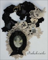 Mucha ivory lace collar2 by Pinkabsinthe