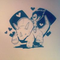 Baby girl and triceratops by jgurley