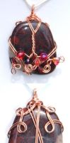 Copper wrapped jasper pendant by inchworm