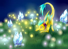 Playing with fireflies by NewMoon-Dragoness