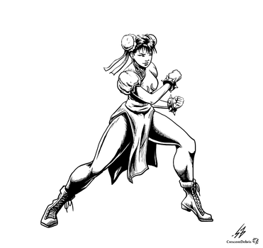 STREET FIGHTER II: Chun Li (LINES) by CrescentDebris