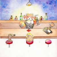 Bartender Red Panda ~ by Squall1015